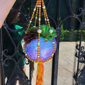 NWT Beaded Chrystal Plant Hanger + Faux Succulents